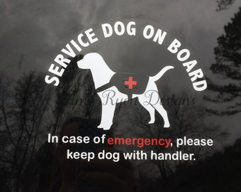 Service Dog Decal, Service Dog on Board, Autism Service Dog, Service Dog Car Decal, Car Window Decal