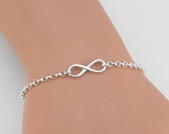Silver Infinity Bracelet, Friendship Bracelet, Infinity Jewelry, Best Friends Gift, Infinity Charm Bracelet, Love Bracelet, Eternal Love