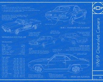 "1969 Chevrolet Camaro blueprint poster 18""x24"" (JPEG image file)"