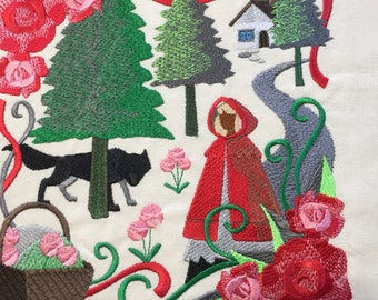 Embroidered tote bag, book bag, reusable shopping bag, little red riding hood
