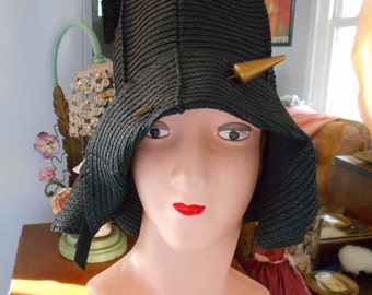 Beautiful 1920's Black Straw Flapper/Downton Abbey/Great Gatsby Helmet Cloche/Hat