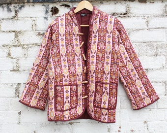 Vintage Floral indian quilted cotton boho hippy 70s gypsy jacket coat S