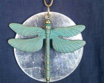 Dragonfly Crystal Necklace // Selenite Crystal // Full Moon Jewelry //  Chakra Balance Healing Stone  // Moon Goddess Dragonfly Pendant