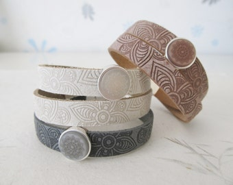 Mandala bracelet, yoga bracelet, leather bracelet 'smoke cognac'