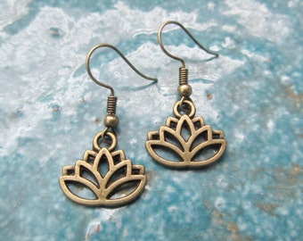 Lotus earrings, lotus jewelry, yoga earrings, bronze earrings