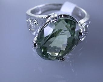Green Amethyst Sterling Silver Ring, Rhodium Plated, Natural Gemstone, Praisiolite Ring