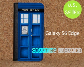 Samsung Galaxy S6 Edge Wallet Case, Doctor Who, Galaxy S6 Flip Case Tardis Free Shipping in the US.