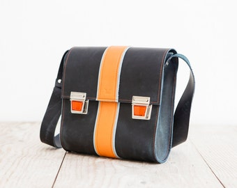 Blue Crossbodybag made from real leather   cool blue Satchelbag    made in Germany