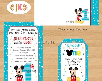 Mickey Mouse 1st Birthday Invitations Printed Invitations