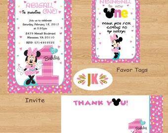 Minnie Mouse 1st Birthday Invitations Printed Invitations