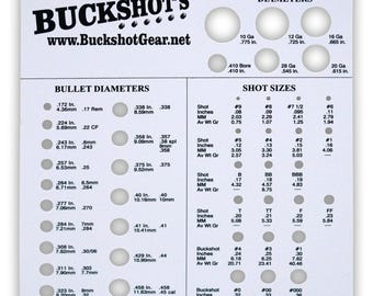 Buckshot's Bullet, Shot and Wad Sizing Template