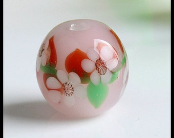 Lampwork Glass Beads -Pair Of Pink Lampwork Glass Beads Handmade (16 MM)