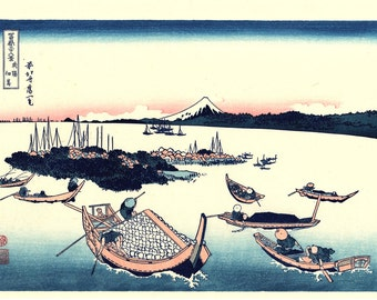 "Japanese Ukiyo-e Woodblock print, Katsushika Hokusai, ""Tsukuda Island in Musashi Province, Thirty-six Views of Mount Fuji"""