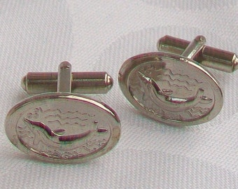 Silver Tone Fish Themed Cufflinks