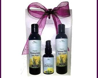 Organic Bath and Body Gift Set - Organic Body Lotion, Organic Body Wash & Organic Hand Sanitizer Spa Gift Set Spring Collection