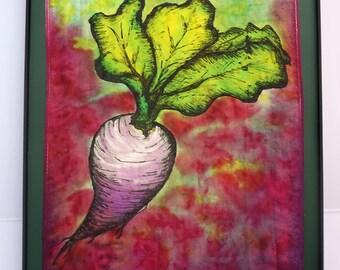 Turnip - Framed Silk Painting