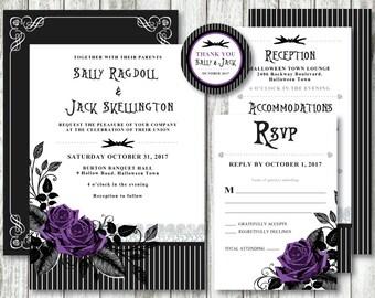 Nightmare Before Christmas 'Skellington Stripe' *Digital Printable Wedding Invitation Set* PACKAGE & EVENT Options