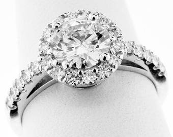 1.63 Carat GIA CERTIFIED EXCELLENT Cut Round Brilliant Diamond Engagement Ring