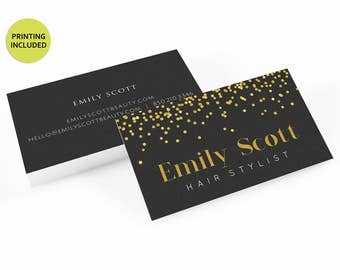 Gold Confetti Printed business cards,personalized,business card design,business card printing,custom business card,gold,confetti,black