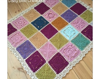 Hand made crochet patchwork throw / blanket