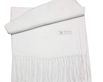 Men Super Soft Check Style Pashmina Luxury Feel Scarf For Day To Evening Occasions (White)