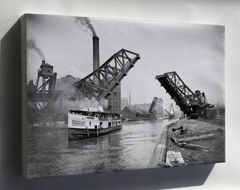 Canvas 24x36; 12Th Street Bascule Bridge, Chicago, Illinois, Ca. 1905