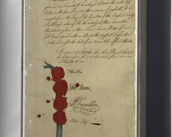 Canvas 24x36; 1783 Treaty Of Paris, Benjamin Franklin John Adams