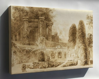 Canvas 24x36; Jean Honore Fragonard Roman Park With Fountain, 1774