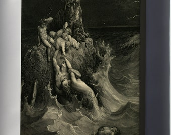 Canvas 24x36; Gustave Dore The Holy Bible Plate I, The Deluge