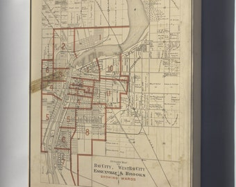 Canvas 24x36; Map Of Bay City Michigan 1896