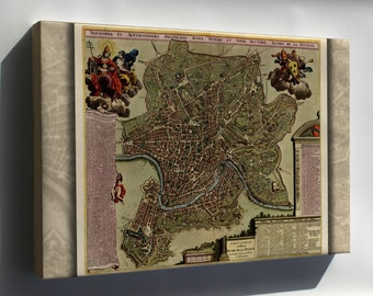Canvas 24x36; Map Of Rome 1709