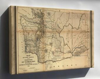 Canvas 16x24; Map Of Washington State 1866