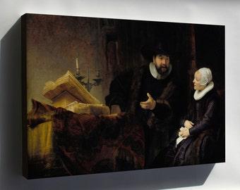 Canvas 16x24; Mennonite Preacher Anslo And His Wife Rembrandt