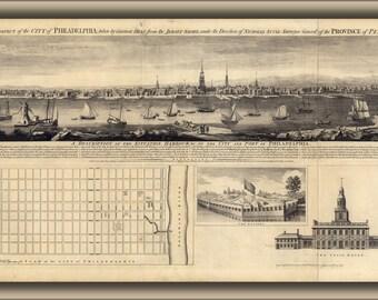 16x24 Poster; Map Of East Prospect Of Philadelphia 1768