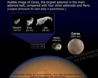 16x24 Poster; Asteroid Size Comparison