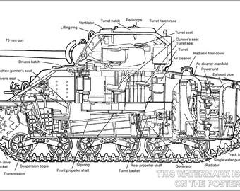 16x24 Poster; M4A4 Sherman Tank. Cutaway Of An