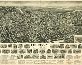 16x24 Poster; Map Freeport Long Island New York 1925