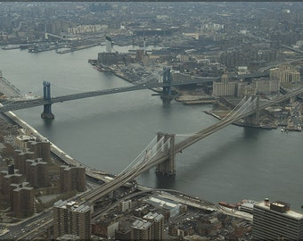 16x24 Poster; Brooklyn Bridge And Manhattan Bridge  1982