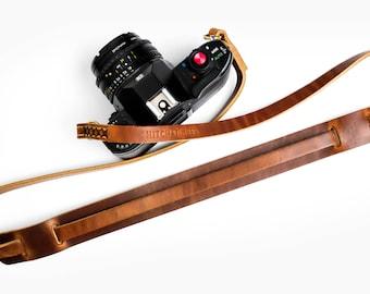 Leather Camera Neck Strap ~ Horween English Tan Dublin ~ Camera Strap ~ Nikon Fuji Canon Leica Sony Panasonic
