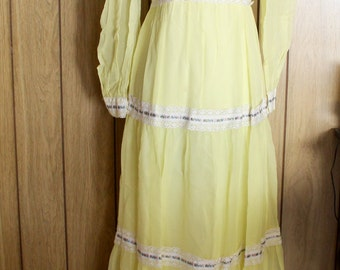 1970s yellow chiffon maxi dresses