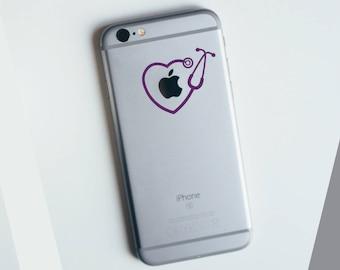Heart Stethascope Doctor Nurse Apple iPhone Decal