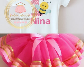My 1st bee day birthday outfit - bee tutu set - bee birthday theme - 1st birthday outfit - 1st birthday tutu set