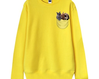 """Men Sweatshirt, Women Sweatshirt, Gift for dad, Gift for him, Gift for mom, """"Cute Pocket Bunny, Rabbit"""" French Terry Sweater"""