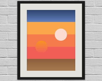 Tatooine Sunset - Star Wars Abstract Geometric Wall Art and Canvas Print