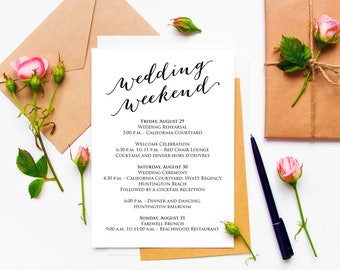 wedding weekend itinerary details card insert wedding information card template diy template printable