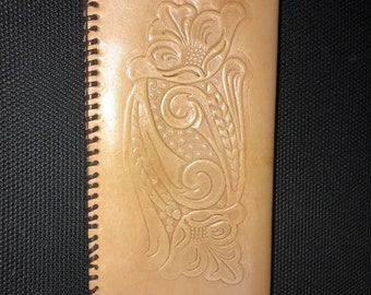 Tooled leather checkbook cover handmade