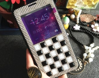 New Bling Luxury Black Flip Crystals Unique Window View Wallet Leather Rhinestones Diamonds Gems Fashion Lovely Cover Case for Mobile Phones