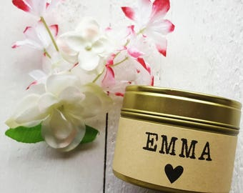 Personalised name candle - Handmade Natural Soy wax candle - scented tin candle - gift - birthday gift - birthday candle - name candle -