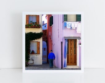 Sunday in Burano - 8x8 inches - Fine-Art print (Hahnemühle Photo Rag or Satin Matte) - Venice photo print -  Colorful home - Laundry - Pink