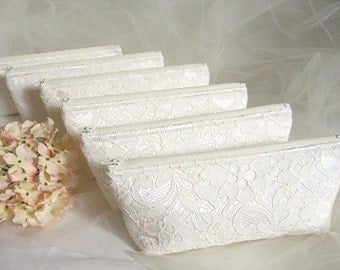 Set of 6 - Ivory Satin Clutch - Ivory Lace Clutch - Wedding Clutch - Sequin Clutch - Bridesmaid Clutch - Ivory Sequin Lace Clutch